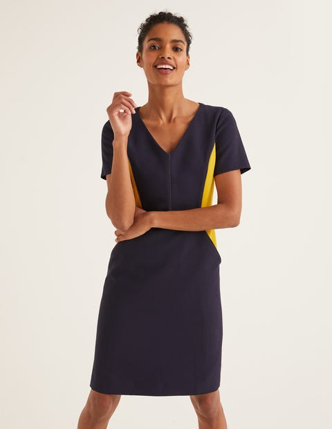 Vicky Kleid in Blockfarben Navy Damen Boden