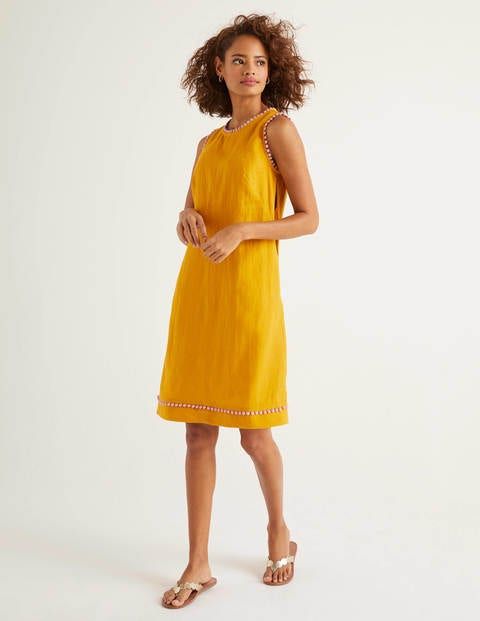 Romaine Leinenkleid Yellow Damen Boden