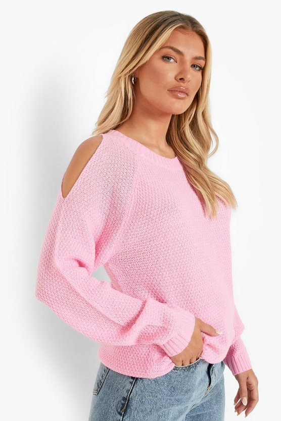 Womens Cold-Shoulder-Pulloverkleid Im Perlmuster - Warmes Pink - Xl