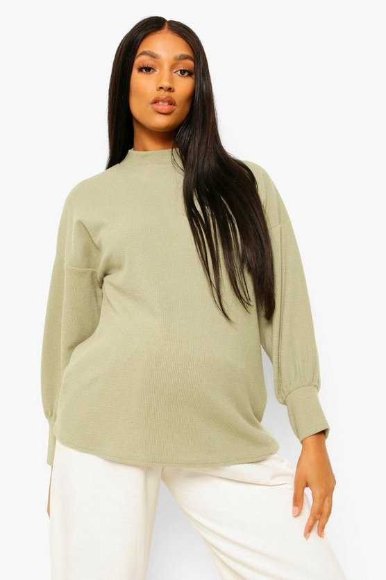 Womens Maternity High Neck Jumper - Sage - 42