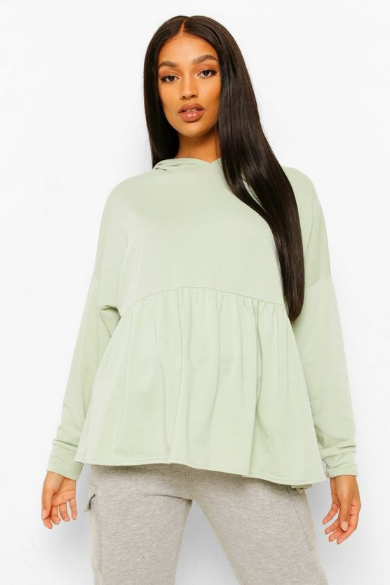 Womens Maternity Hooded Sweat Smock Top - Sage - 42