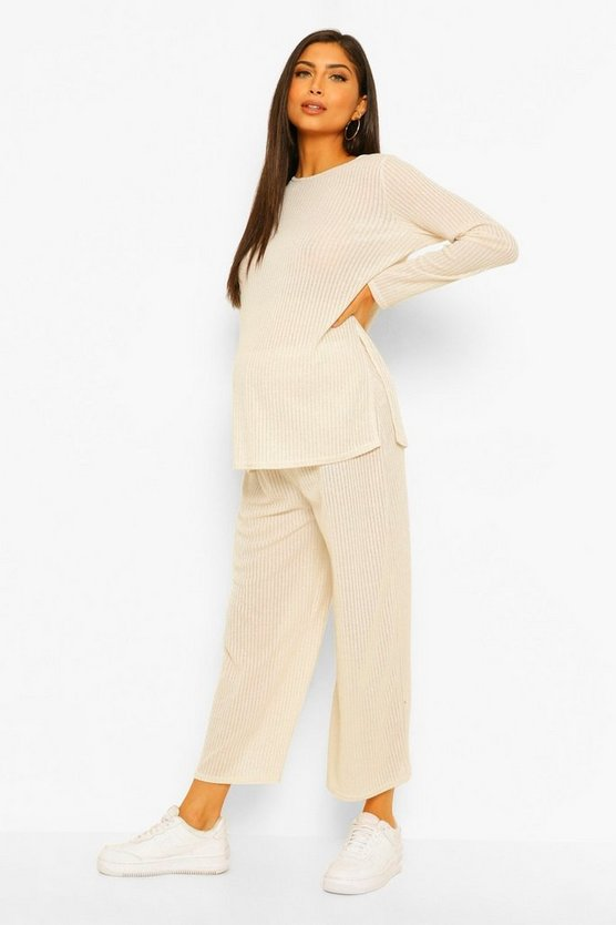 Womens Maternity Metallic Knitted Culotte Co-Ord Set - Cream - 42