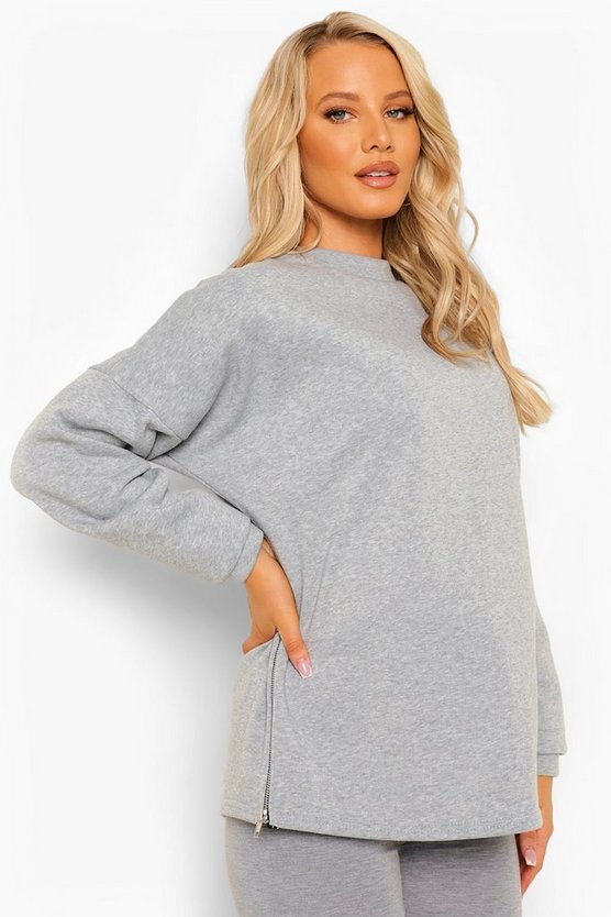Womens Maternity Side Zip Sweatshirt - Grey Marl - 42