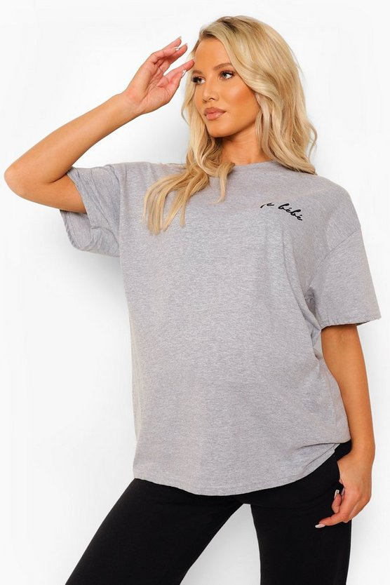 Womens Maternity 'Le Bebe' Slogan T-Shirt - Grey Marl - 40