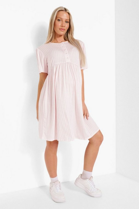 Womens Maternity Button Front Gingham Smock Dress - Baby Pink - 42