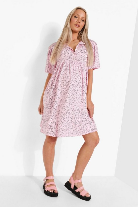 Womens Maternity Button Front Ditsy Smock Dress - Pale Pink - 42