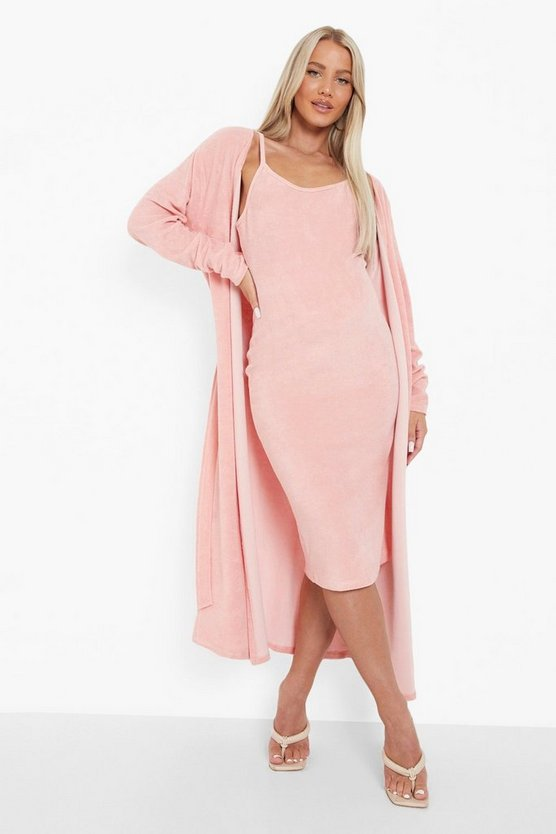 Womens Umstandsmode Midi-Cardigan Aus Frottee - Dusky Pink - 40