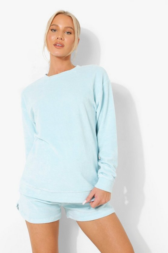 Womens Umstandsmode Frottee Loungewear-Top - Pale Blue - 42