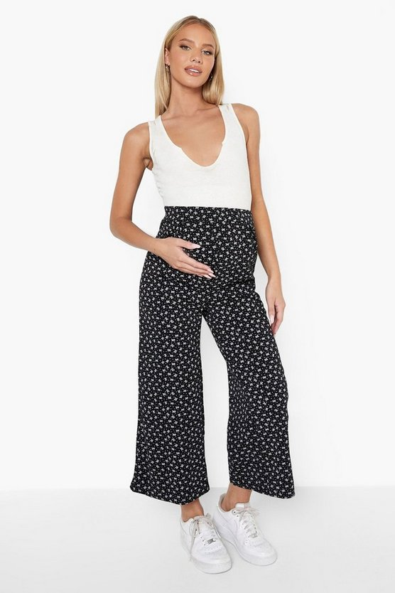 Womens Umstandsmode Florale Over-The-Bump Culotte - Black - 36