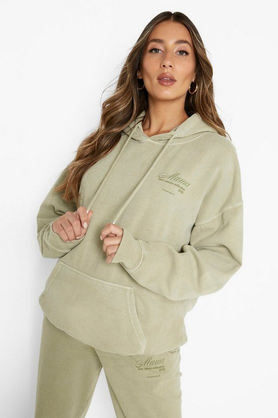 """Womens Umstandsmode: Oversize-Hoodie Mit """"Mama Collection""""-Print - Khaki - 42"""