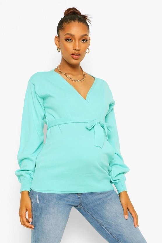 Womens Maternity Wrap Front Knitted Jumper - Sage - M