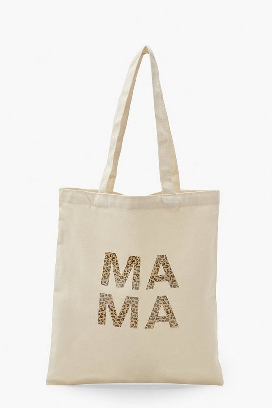 Womens Mama Tote Bag Mit Leopardenmuster - Naturfarben - One Size