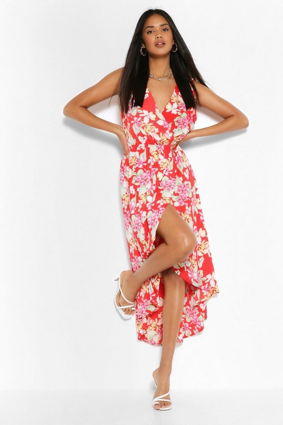 Womens Jumpsuit In Blumenmuster - Rot - 36