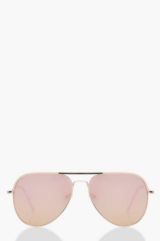 Womens Roségoldfarbene Aviator-Sonnenbrille - Rotgold - One Size