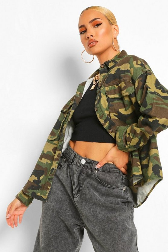 Womens Super Oversized Jeanshemd Mit Camouflage-Muster - Khaki - 40