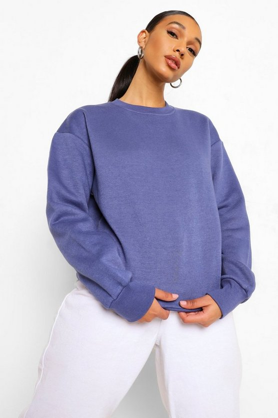 Womens Basic Sweatshirt Mit Rundhalsausschnitt - Denim - 34