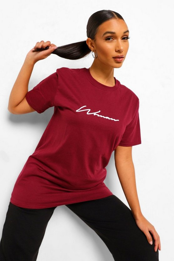Womens T-Shirt Mit Woman-Print - Wine - M