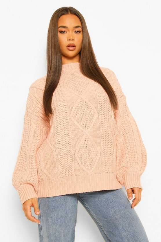 Womens Oversized Pullover Mit Zopfmuster - Natural - S/M