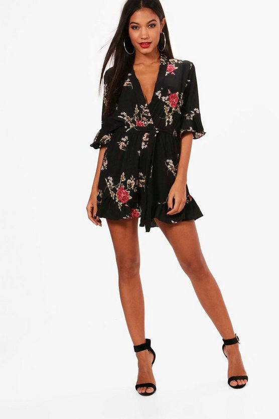Womens Playsuit Mit Wickelfront