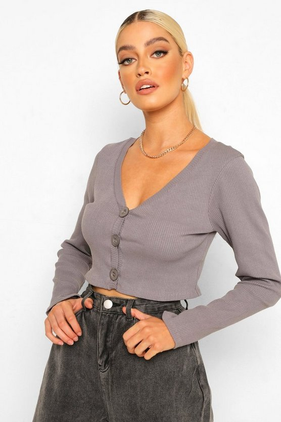 Womens Ribbed Cropped Cardigan - Dusty Blue - 40