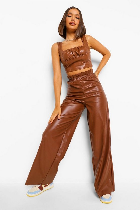 Womens Leather Look Wide Leg Paper Bag - Camel - 42