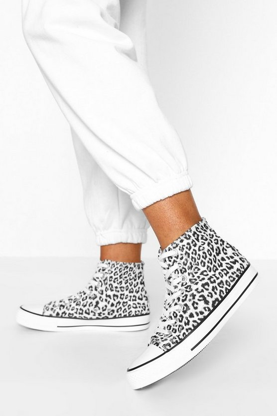 Womens High-Top Canvas-Sneaker Mit Leopardenmuster - 38