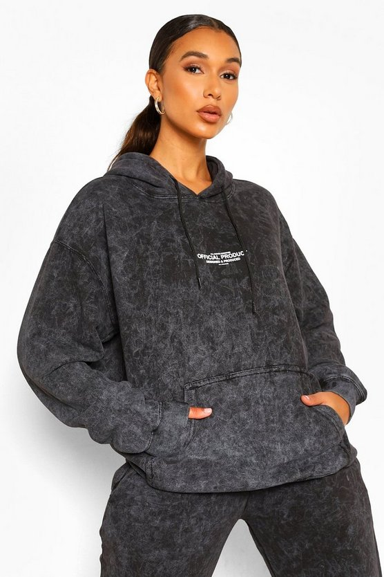 Womens Official Product Hoodie Mit Acid-Waschung - Anthrazit - Xl