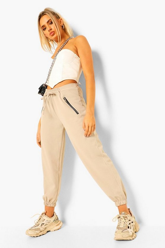 Womens Zip Detail Tailored Jogger - Stone - 38