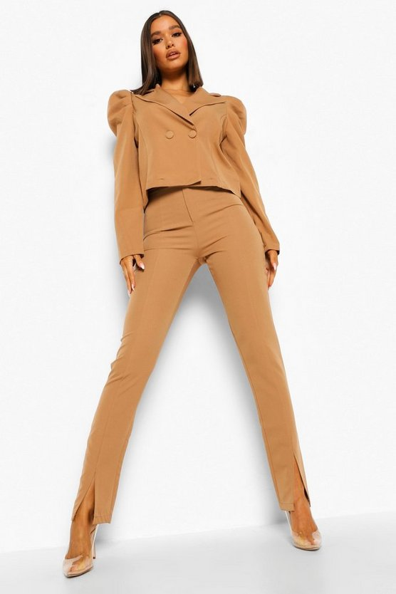 Womens Split Front Tailored Trousers - Caramel - 40