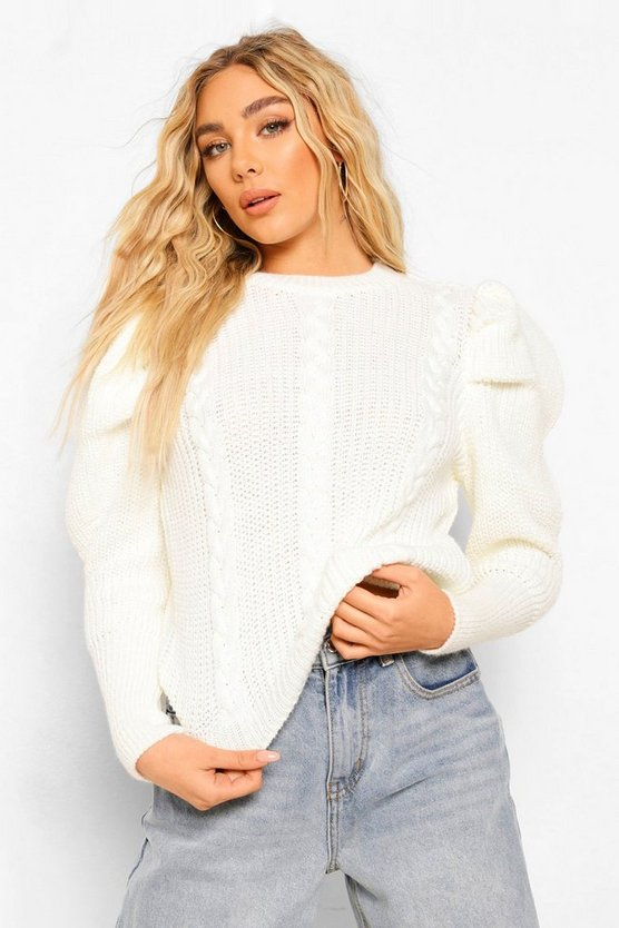 Womens Puff Sleeve Cable Knit Jumper - Cream - S