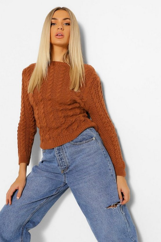 Womens All Over Cable Jumper - Rust - M/L