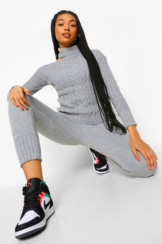 Womens Cut Out Detail Jumper And Legging Co-Ord - Grey - M