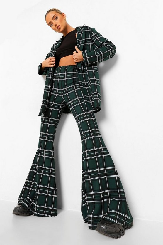 Womens Tonal Green Check Super Flared Trousers - Emerald - 40