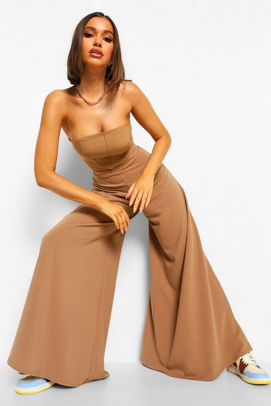 Womens Super Wide Leg Trousers - Caramel - 40