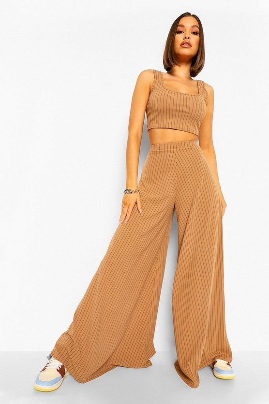 Womens Super Wide Leg Pinstripe Trousers - Camel - 42