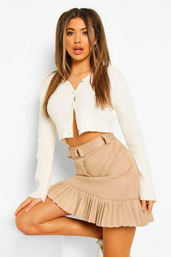 Womens Faux Suede Belted Pleated Mini Skirt - Stone - 42