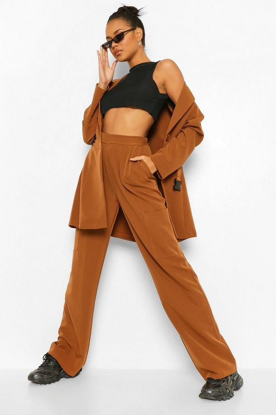 Womens Cargo Pocket Wide Leg Tailored Trousers - Caramel - 42