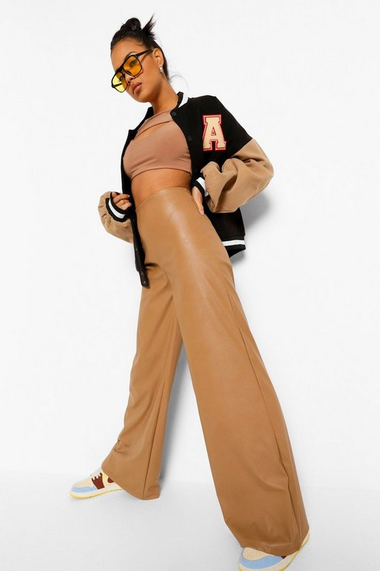 Womens Oversized Leather Look Wide Leg Trousers - Caramel - 42