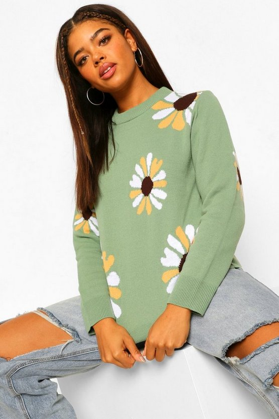 Womens Floral Design Crew Neck Knitted Jumper - Sage - M