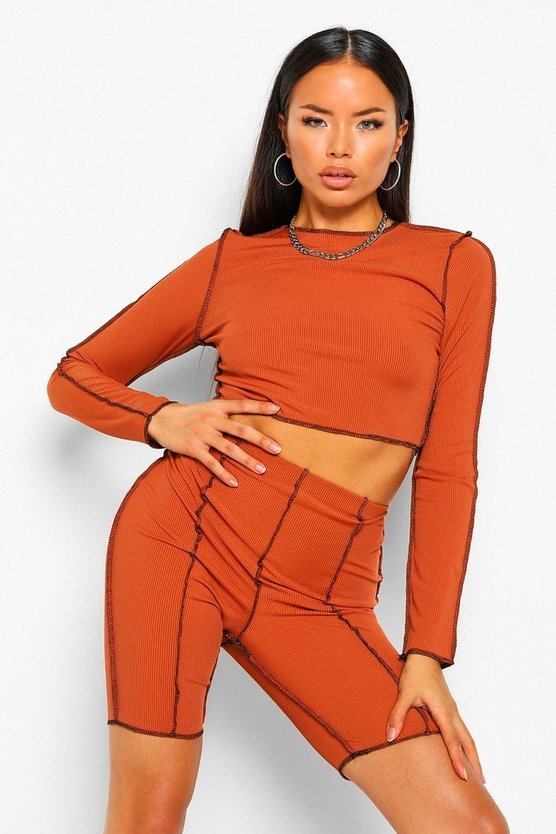 Womens Ribbed Contrast Seam Top & Cyling Shorts Co-Ord Set - Rust - 40