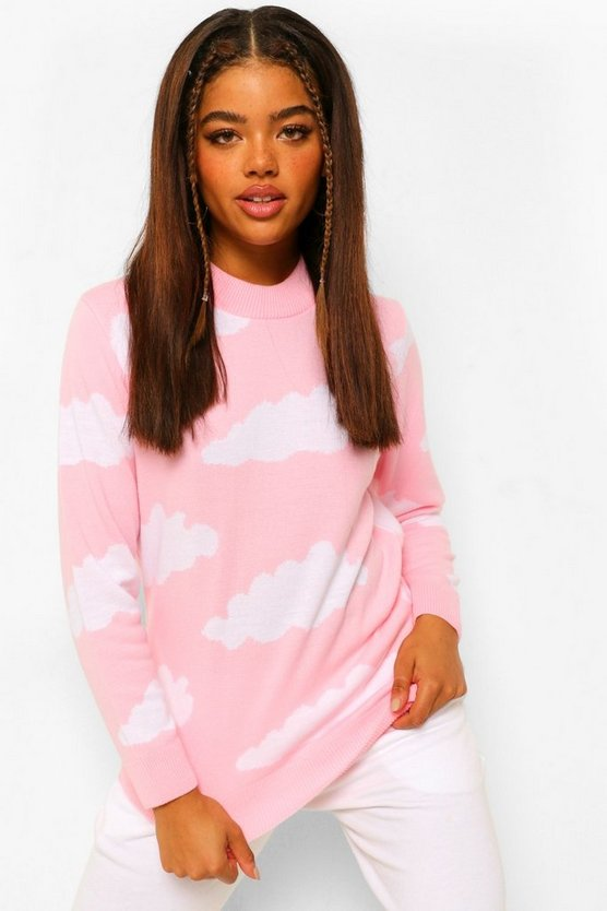 Womens Knitted Cloud Design Jumper - Pale Pink - M