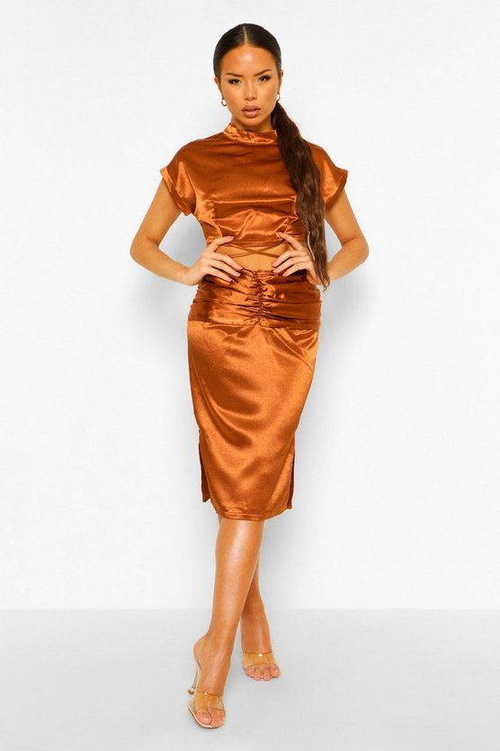 Womens Satin Strap Top & Ruched Skirt Co-Ord Set - Chocolate - 42