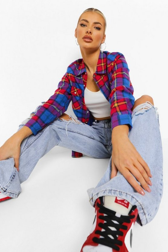 Womens Checked Check Shirt - Red - M