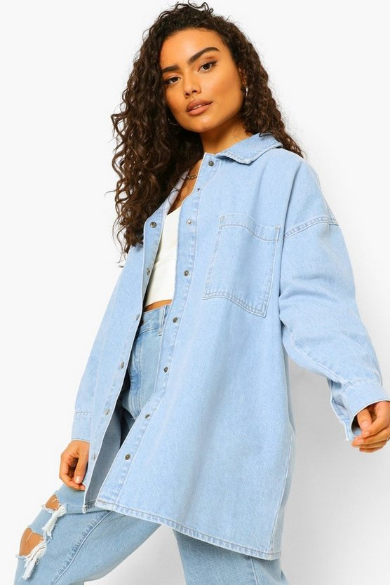 Womens Oversized Shirt Aus Festem Denim - Hellblau - 38
