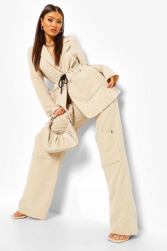 Womens Pocket Front Wide Leg Utility Trousers - Sand - 42