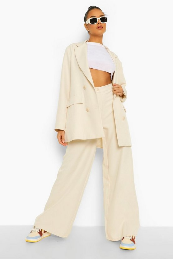 Womens Relaxed Wide Leg Trousers - Sand - 42