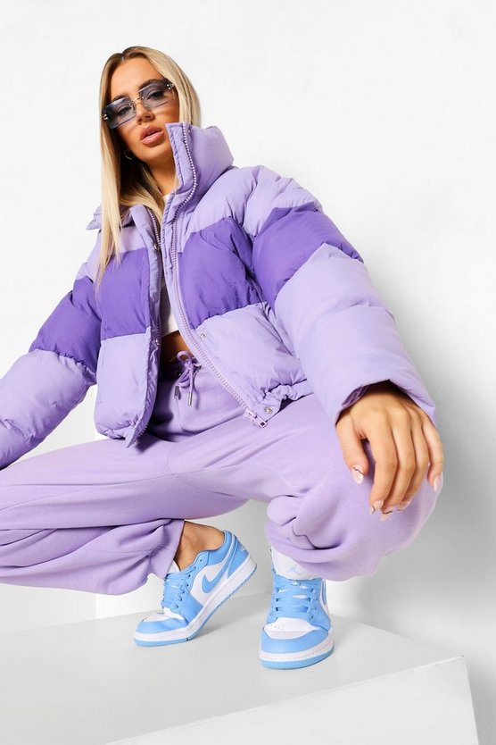 Womens Colour Block Toggle Detail Puffer Coat - Lilac - 38
