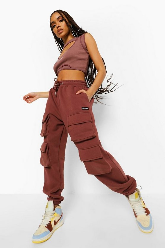Womens Official Front Cargo Pocket Joggers - Chocolate - M