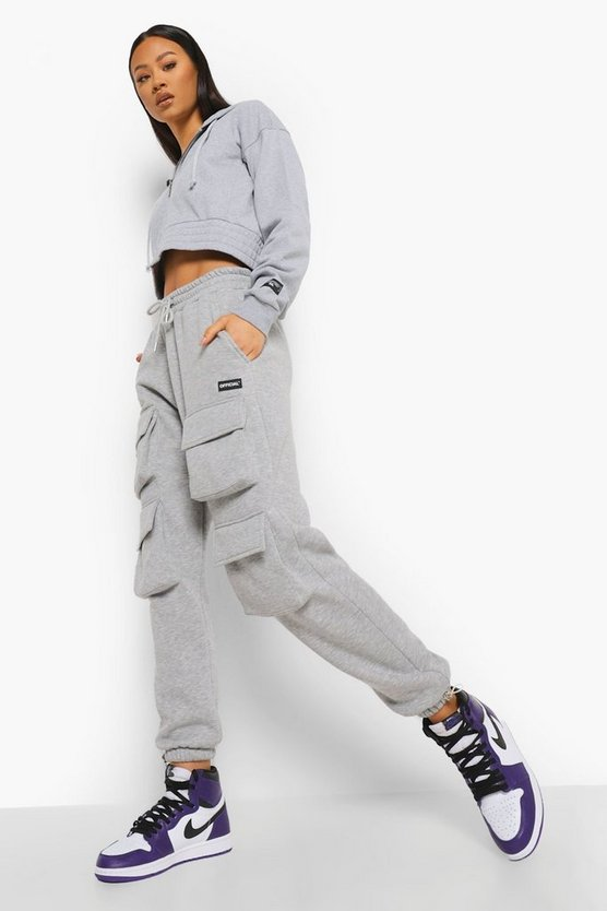 Womens Official Front Cargo Pocket Joggers - Grey Marl - M