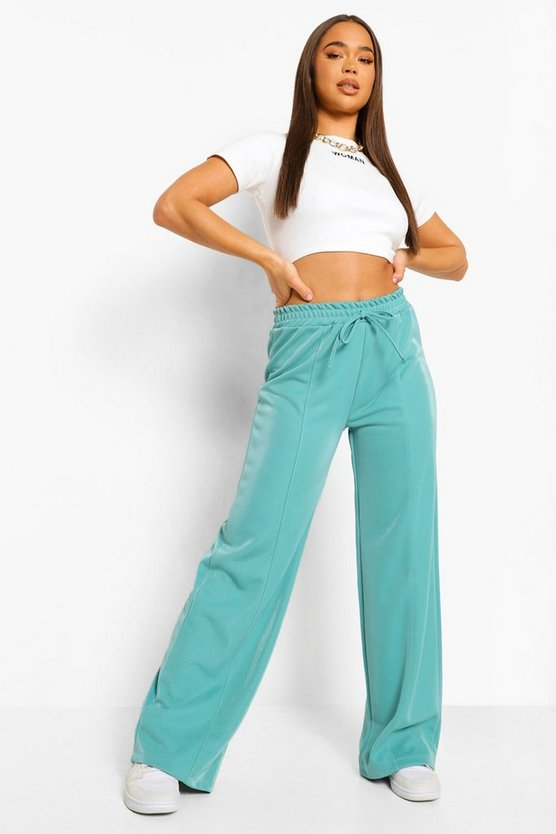 Womens Piping Detail Wide Leg Luxe Jogger - Turquoise - 42